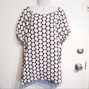 PLUS SIZE Black & White Polka Dot Pop Print Blouse